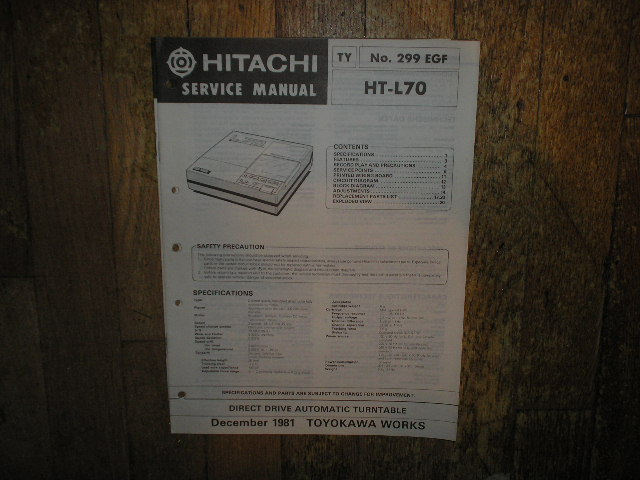 HT-L70 Turntable Service Manual  Hitachi Turntables