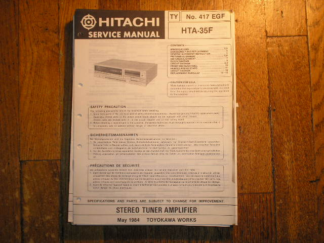 HTA-35F RECEIVER  Service Manual  HITACHI ORIGINALS