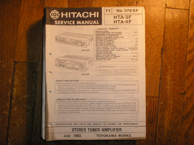 HTA-3F HTA-4F Stereo Tuner Amplifier Service Manual