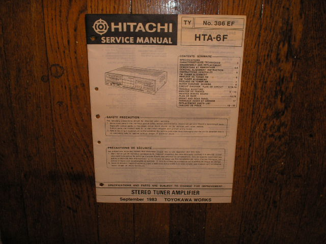 HTA-6F Stereo Tuner Amplifier Service Manual