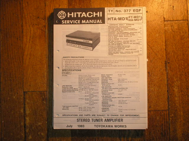 Hitachi HTA-MD1... FD-MD1 HA-MD1  TUNER AMPLIFIER  Service Manual..