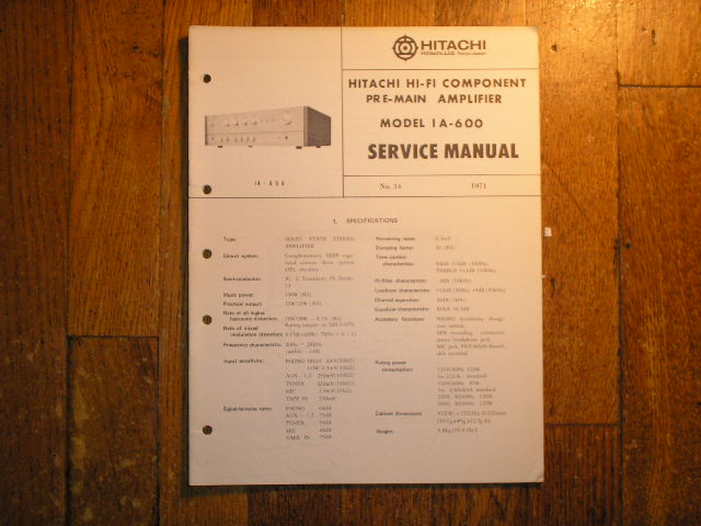 Hitachi IA-600 PRE-AMPLIFIER  RECEIVER  Service Manual..