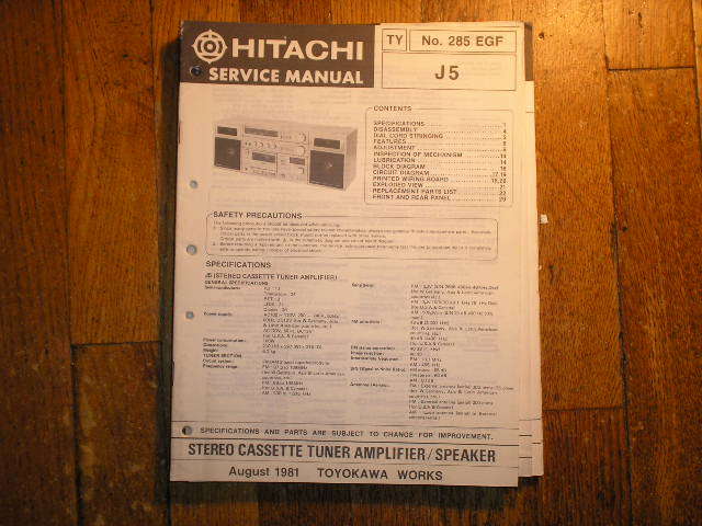 J5 RADIO/CASSETTE  Service Manual  HITACHI ORIGINALS