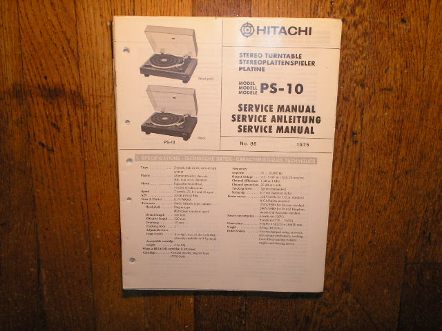 PS-10 Belt Drive Turntable Service Manual  Hitachi Turntables