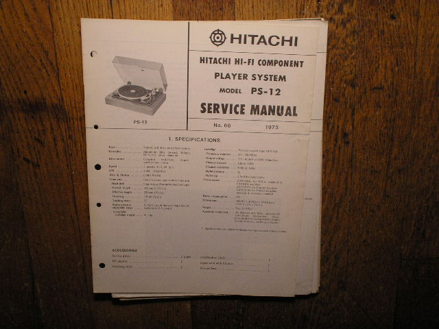 PS-12 Belt Drive Turntable Service Manual  Hitachi Turntables