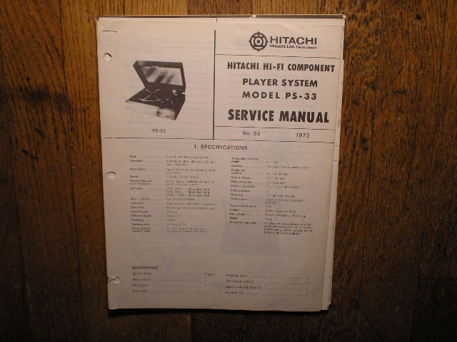 PS-33 Belt Drive Turntable Service Manual  Hitachi Turntables