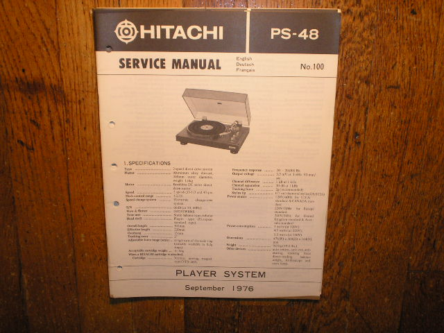 PS-38 Belt Drive Turntable Service Manual  Hitachi Turntables