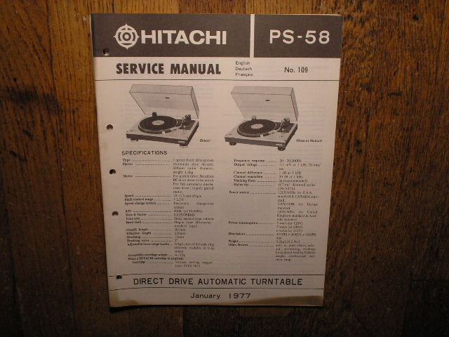 Hitachi PS-58  Turntable Service Manual..