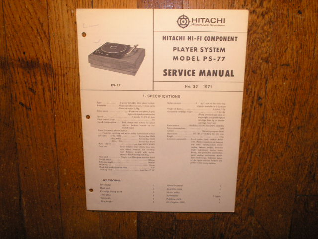 PS-77 Belt Drive Turntable Service Manual  Hitachi Turntables