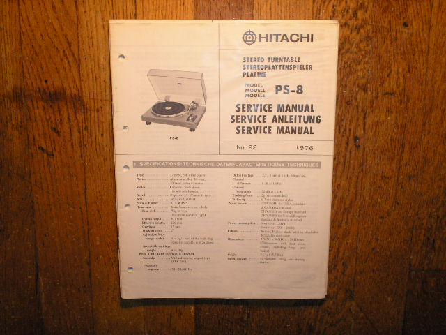 PS-08 PS-8 Belt Drive Turntable Service Manual  Hitachi Turntables