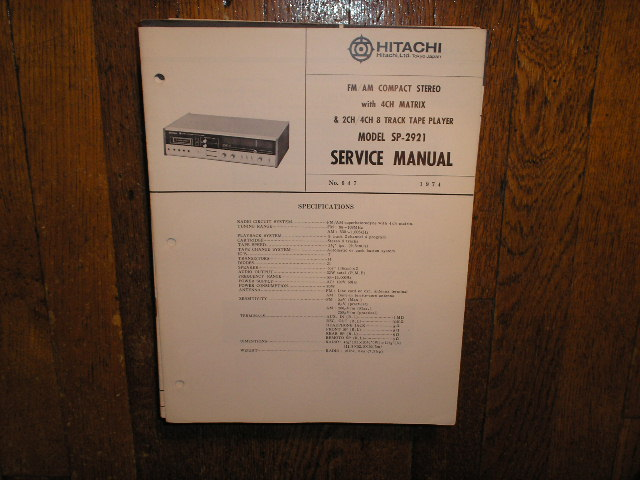 SP-2921 8-TRACK  Stereo System Service Manual