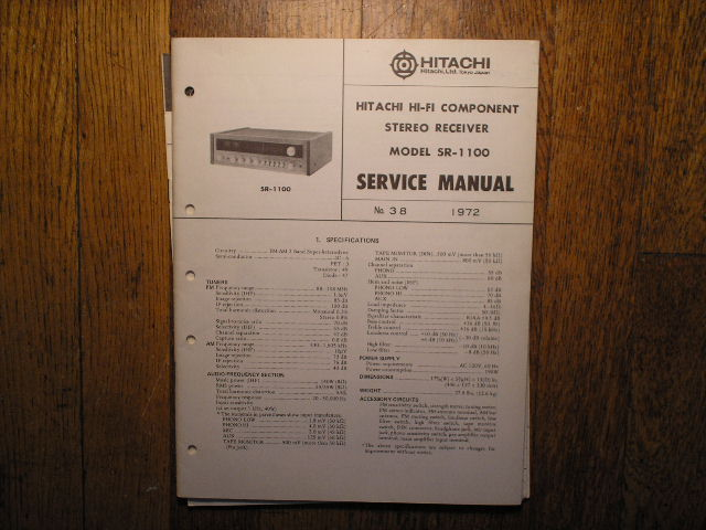 Hitachi SR-1100 Stereo Receiver Service Manual  Hitachi Receivers