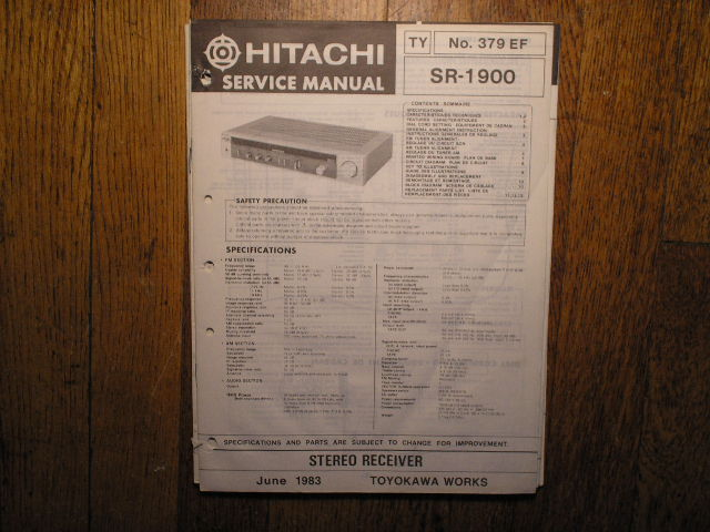 SR-1900 Receiver Service Manual