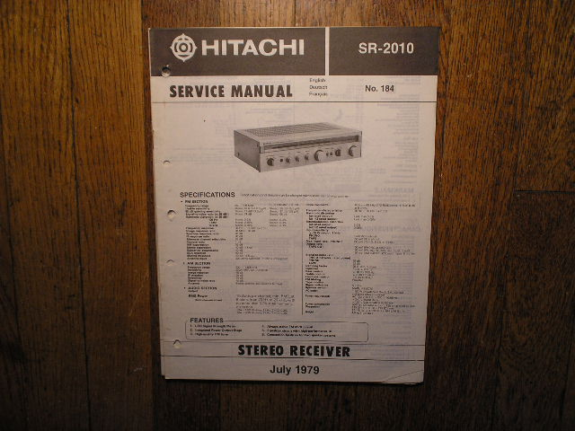 Hitachi SR-2010 Stereo Receiver Service Manual  Hitachi Receivers