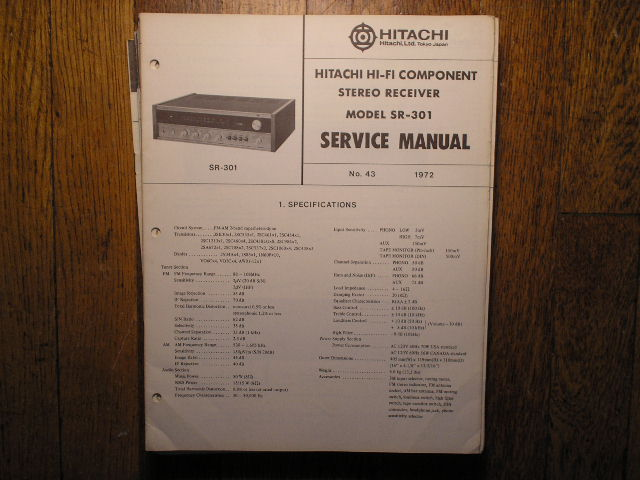 Hitachi SR-301 Stereo Receiver Service Manual  Hitachi Receivers