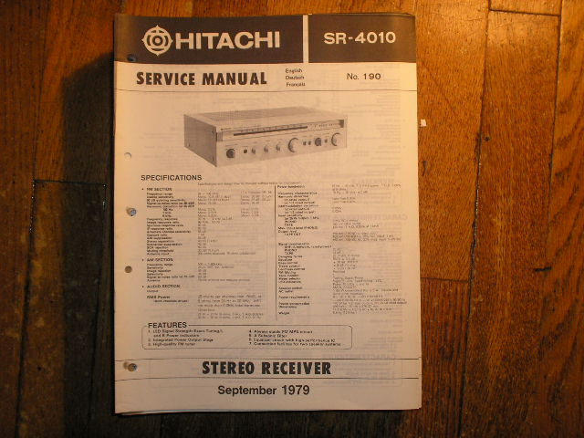 Hitachi SR-4010 Stereo Receiver Service Manual  Hitachi Receivers