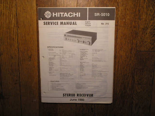Hitachi SR-5010 Stereo Receiver Service Manual  Hitachi Receivers