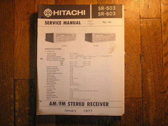 SR-503 SR-603 Receiver Service Manual