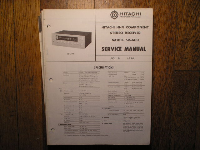 Hitachi SR-600 Stereo Receiver Service Manual  Hitachi Receivers