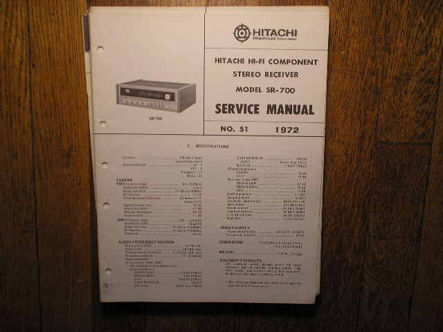 Hitachi SR-700 Stereo Receiver Service Manual  Hitachi Receivers