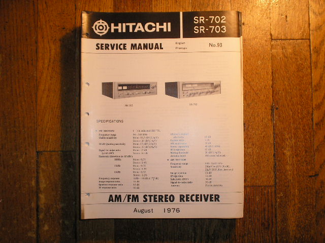 Hitachi SR-702 SR-703 Stereo Receiver Service Manual  Hitachi Receivers
