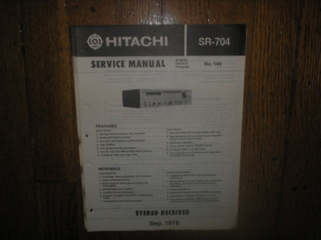 Hitachi SR-704 Stereo Receiver Service Manual  Hitachi Receivers
