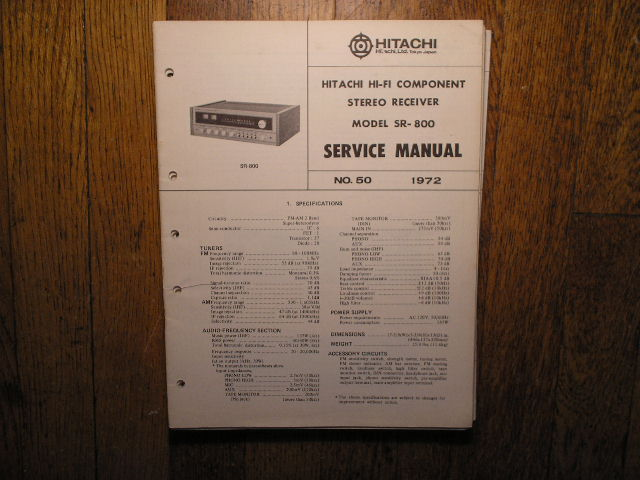 Hitachi SR-800 Stereo Receiver Service Manual  Hitachi Receivers