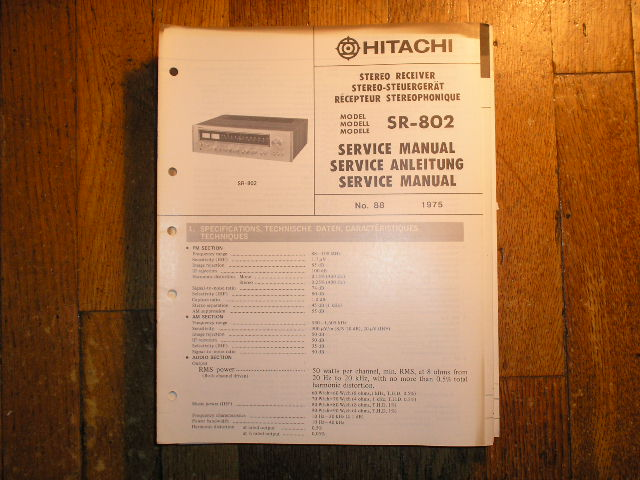 Hitachi SR-802 Stereo Receiver Service Manual  Hitachi Receivers