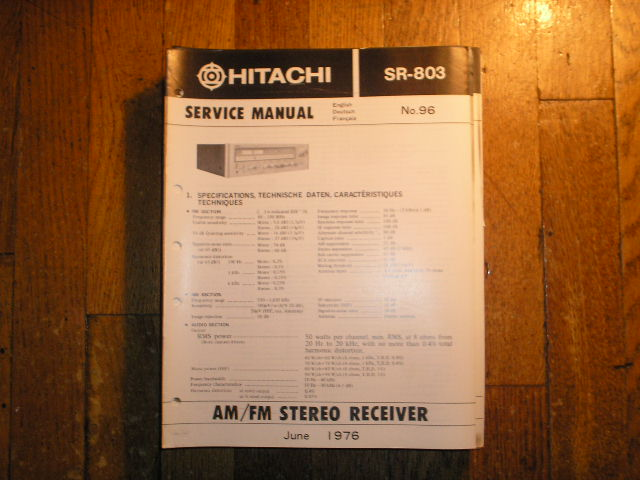 Hitachi SR-803 Stereo Receiver Service Manual  Hitachi Receivers
