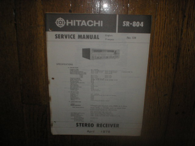 Hitachi SR-804 Stereo Receiver Service Manual  Hitachi Receivers