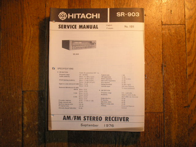 Hitachi SR-903 Stereo Receiver Service Manual  Hitachi Receivers