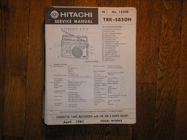 TRK-5850H CASSETTE RADIO Service Manual