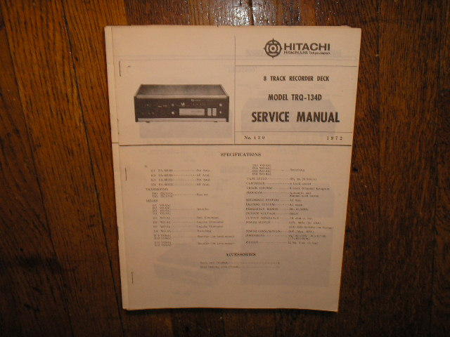 TRQ-134D 8-Track Tape Recorder Service Manual