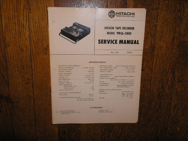 TRQ-380 Reel to Reel Tape Recorder Service Manual  Hitachi