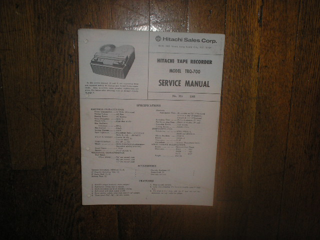 TRQ-700 Reel to Reel Tape Recorder Service Manual  Hitachi