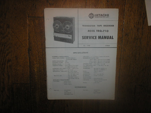 TRQ-710 Reel to Reel Tape Recorder Service Manual  Hitachi
