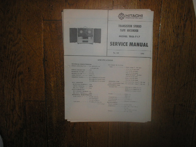 TRQ-717 Reel to Reel Tape Recorder Service Manual  Hitachi