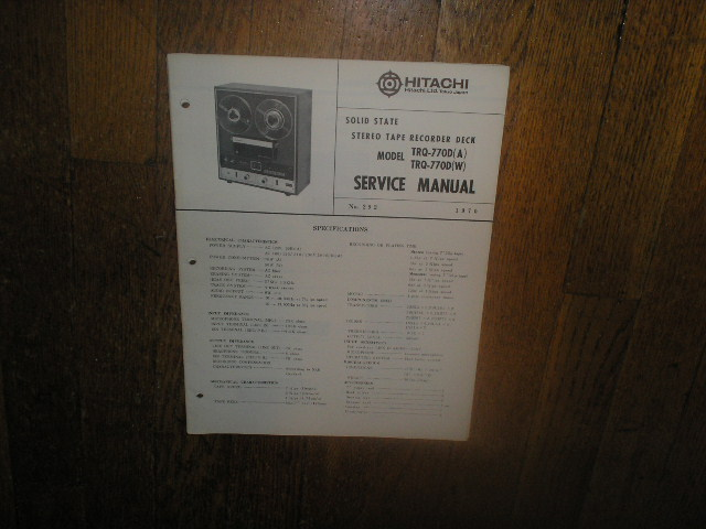 TRQ-770D A W Reel to Reel Tape Recorder Service Manual  Hitachi