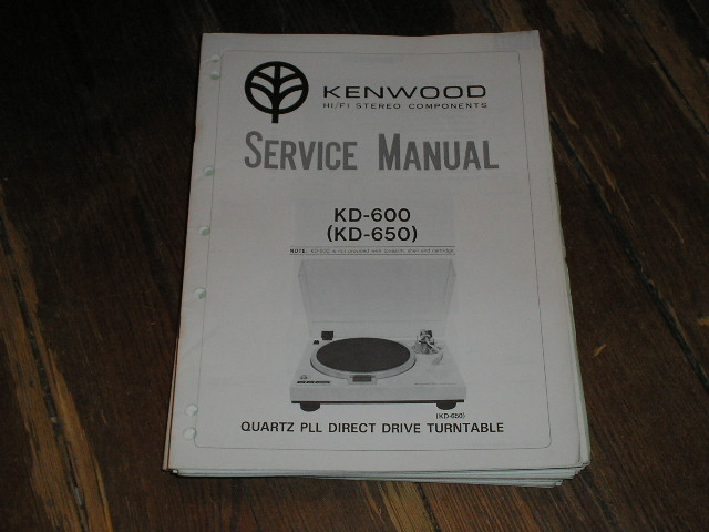 KD-600 KD-650 Turntable Service Manual  Kenwood Turntables