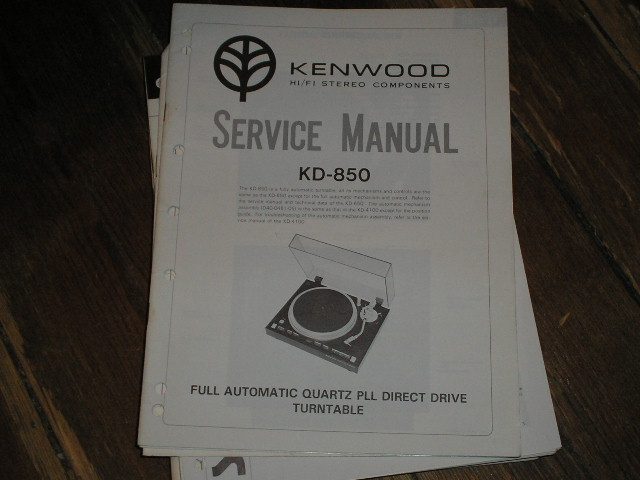 KD-850 Turntable Service Manual  Kenwood Turntables