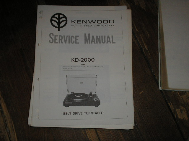 KD-2000 Turntable Service Manual  Kenwood Turntables