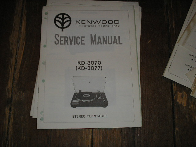 KD-3070 KD-3077 Turntable Service Manual  Kenwood Turntables
