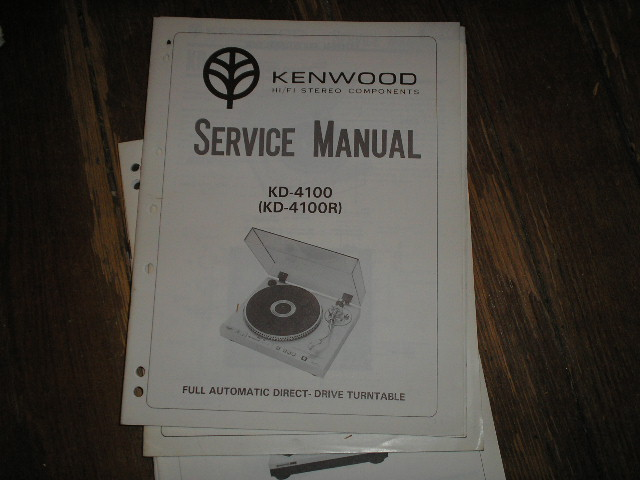 KD-4100 KD-4100R Turntable Service Manual.  includes a 2nd 16 page manual