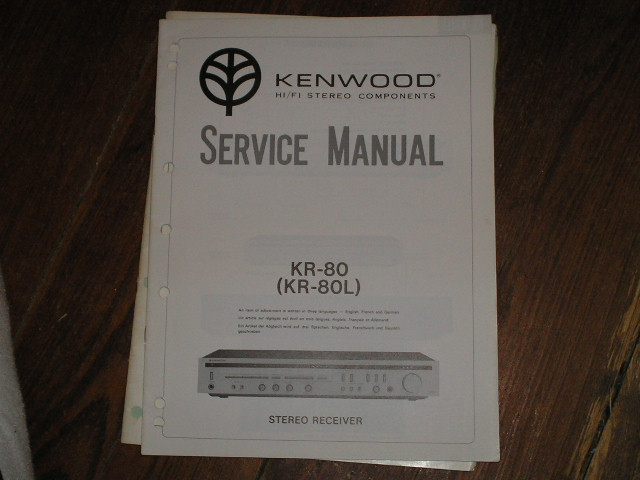 KR-80 KR-80L Receiver Service Manual  Kenwood Receivers