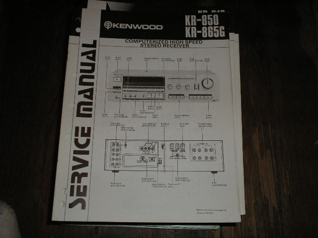 KR-850 KR-856G Receiver Service Manual  Kenwood Receivers
