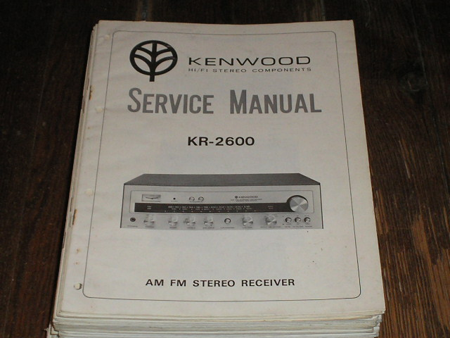 KR-2600 Receiver Service and Operating Instruction Manuals.  Kenwood Receivers