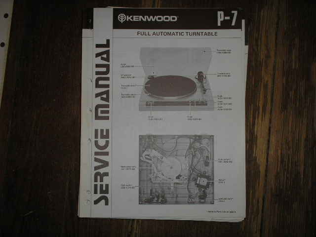 P-7 Turntable Service Manual  Kenwood Turntables