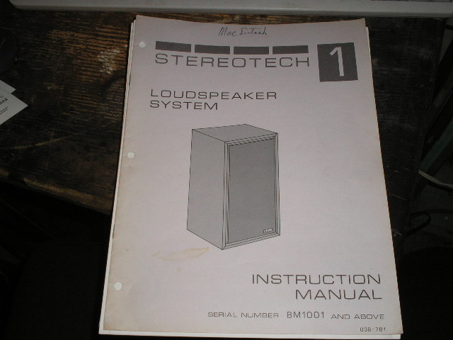 Stereotech 1 Loudspeaker Manual for Serial no. BM1001 and up