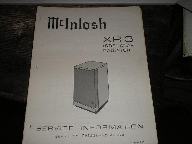 XR3 Loudspeaker Service Manual for Serial Number CA1001 and above..