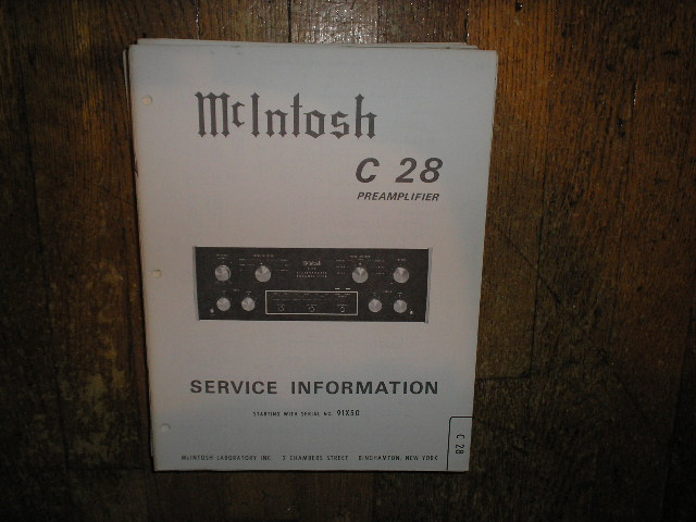 C 28 Pre-Amplifier Service Manual Starting with Serial No 91X50